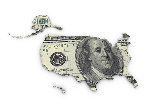 istock Map USA and Dollar 173929572