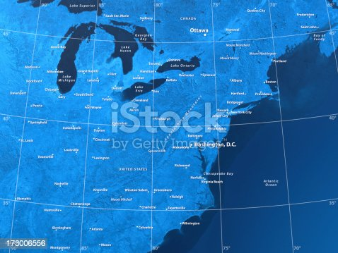 171057063 istock photo Map USA North East 173006556