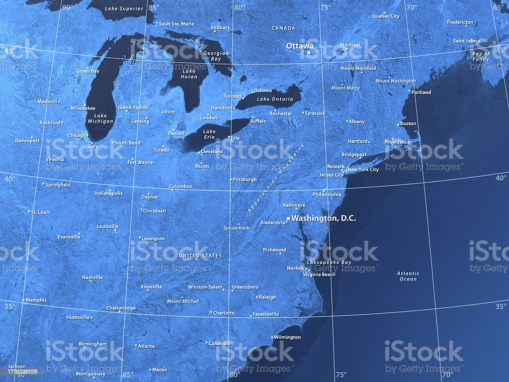 Map USA North East stock photo