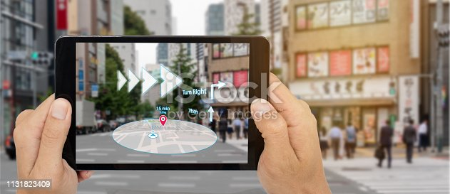 1150202730 istock photo map use ai, artificial intelligence algorithms to determine what individuals want to see When GPS location service are turned on and the Maps app is opened ,popups that can direct the user to landmark 1131823409