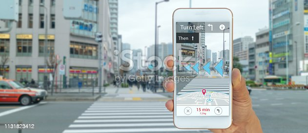 1150202730 istock photo map use ai, artificial intelligence algorithms to determine what individuals want to see When GPS location service are turned on and the Maps app is opened ,popups that can direct the user to landmark 1131823412
