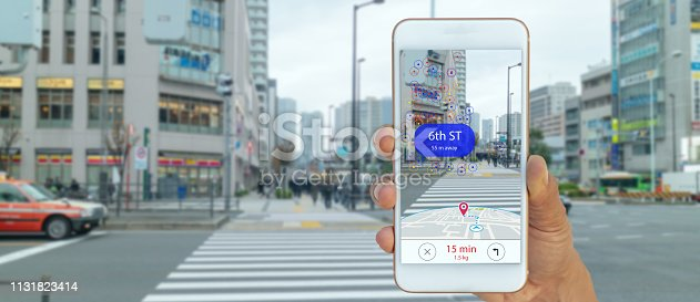 1150202730 istock photo map use ai, artificial intelligence algorithms to determine what individuals want to see When GPS location service are turned on and the Maps app is opened ,popups that can direct the user to landmark 1131823414