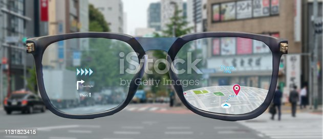 1150202730 istock photo map use ai, artificial intelligence algorithms to determine what individuals want to see When GPS location service are turned on and the Maps app is opened ,popups that can direct the user to landmark 1131823415