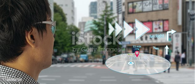 1150202730 istock photo map use ai, artificial intelligence algorithms to determine what individuals want to see When GPS location service are turned on and the Maps app is opened ,popups that can direct the user to landmark 1133584704