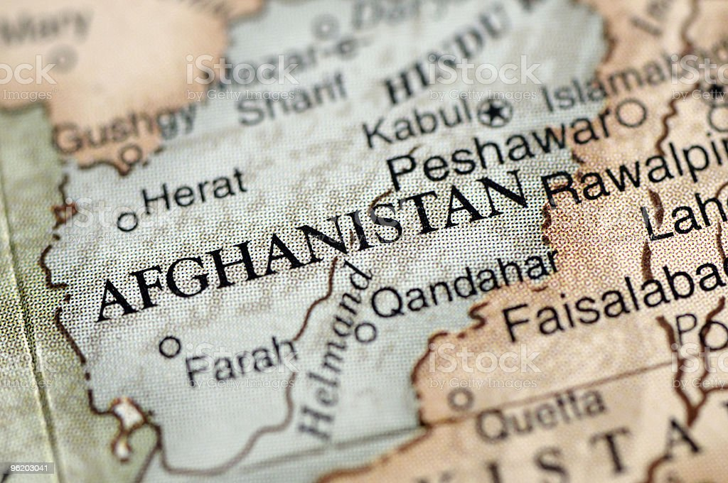 A map with a close-up focus on Afghanistan stock photo