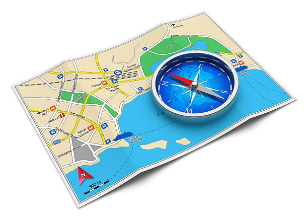 gps-navigation, reise und tourismus-konzept - kompass wanderkarte stock-fotos und bilder