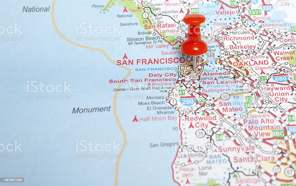 Map With A Red Pin Pointing At San Francisco California Stock Photo