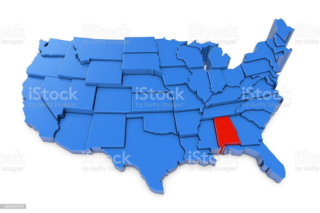 USA map with Alabama state highlighted in red stock photo
