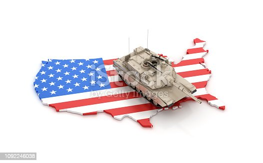 831661634istockphoto USA Map with Armored Tank - 3D Rendering 1092246038