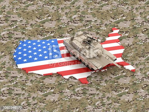 831661634istockphoto USA Map with Armored Tank - 3D Rendering 1092246172