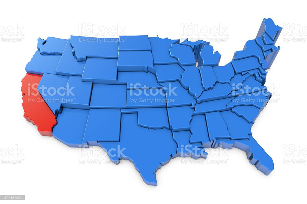 Usa Map With California State Highlighted In Red Stock Photo