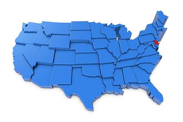 usa karte mit delaware state in rot hervorgehoben - karten de stock-fotos und bilder