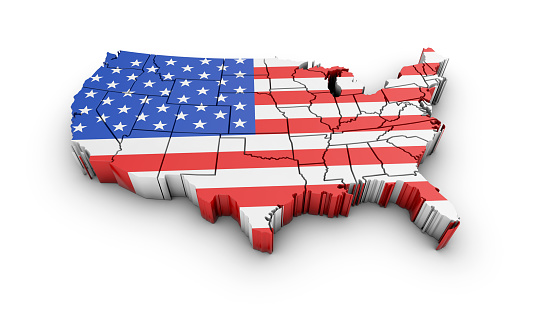 istock USA map with flag and shadow on white background. 3D rendering. 831661634