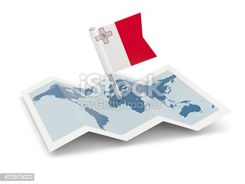 istock Map with flag of malta 472573022