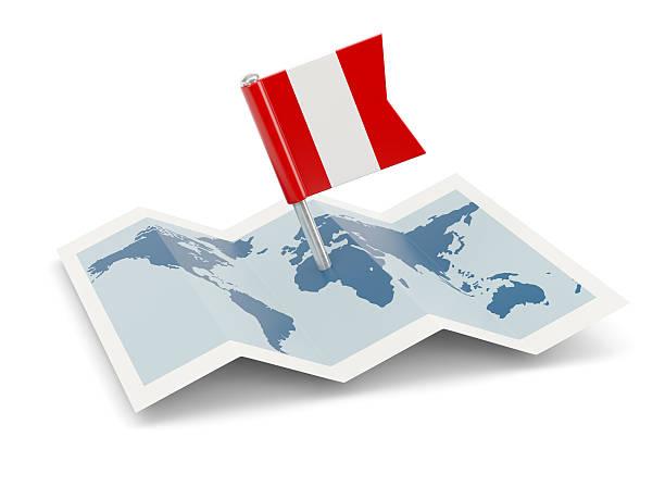 Mapa con bandera de Perú - foto de stock