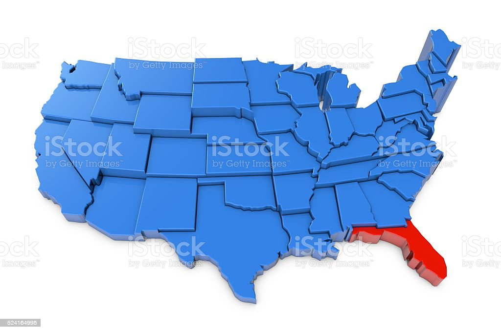 USA map with Florida state highlighted in red stock photo