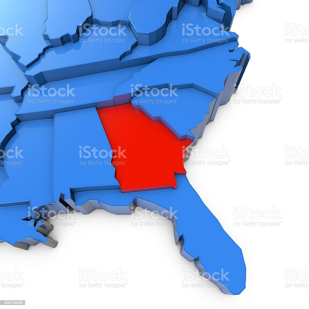 Usa Map With Georgia State Highlighted In Red Stock Photo IStock - Georgia in us map