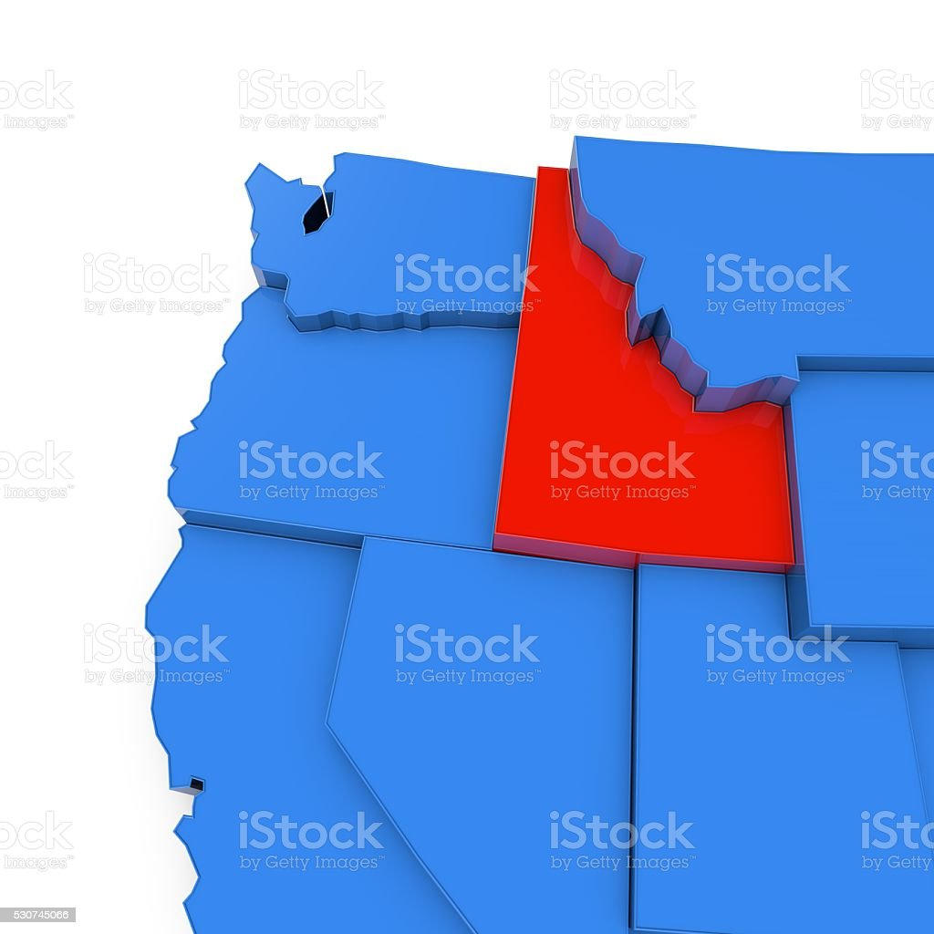 Usa Map With Idaho State Highlighted In Red Stock Photo More