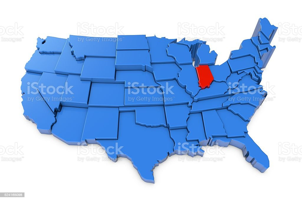 Usa Map With Indiana State Highlighted In Red Stock Photo & More ...
