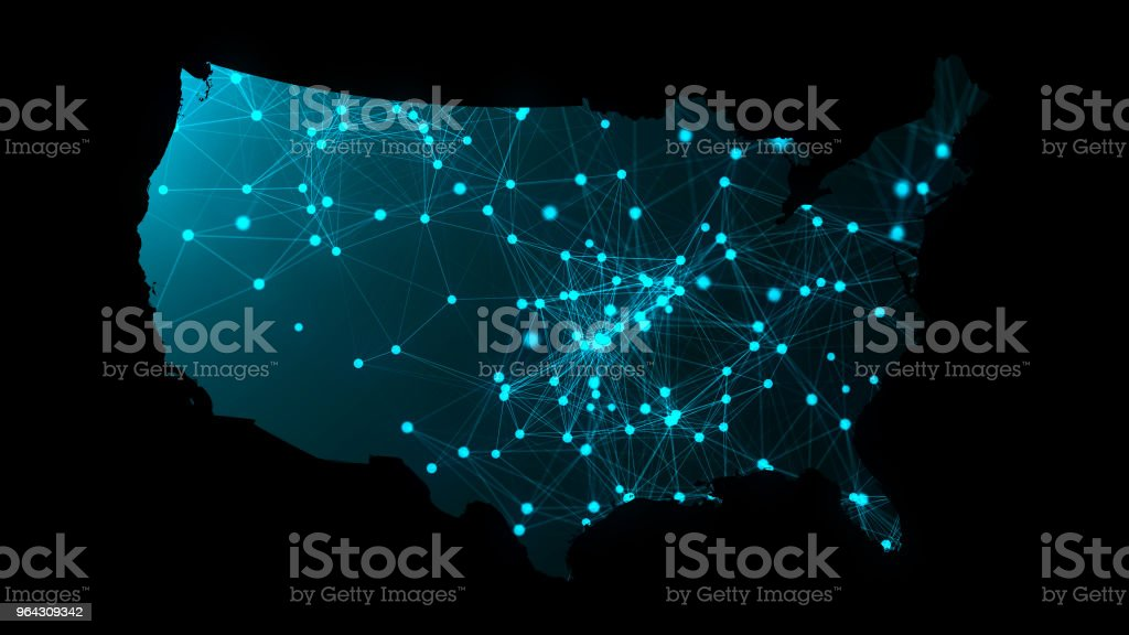 USA map with many network connections, 3d rendering computer generated backdrop royalty-free stock photo