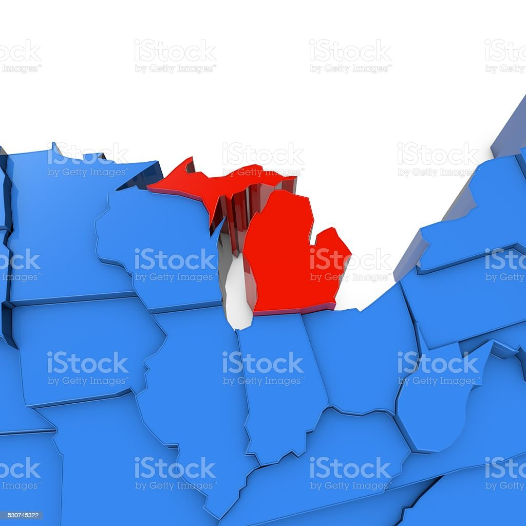 Usa Map With Michigan State Highlighted In Red Stock Photo IStock - Us map michigan state