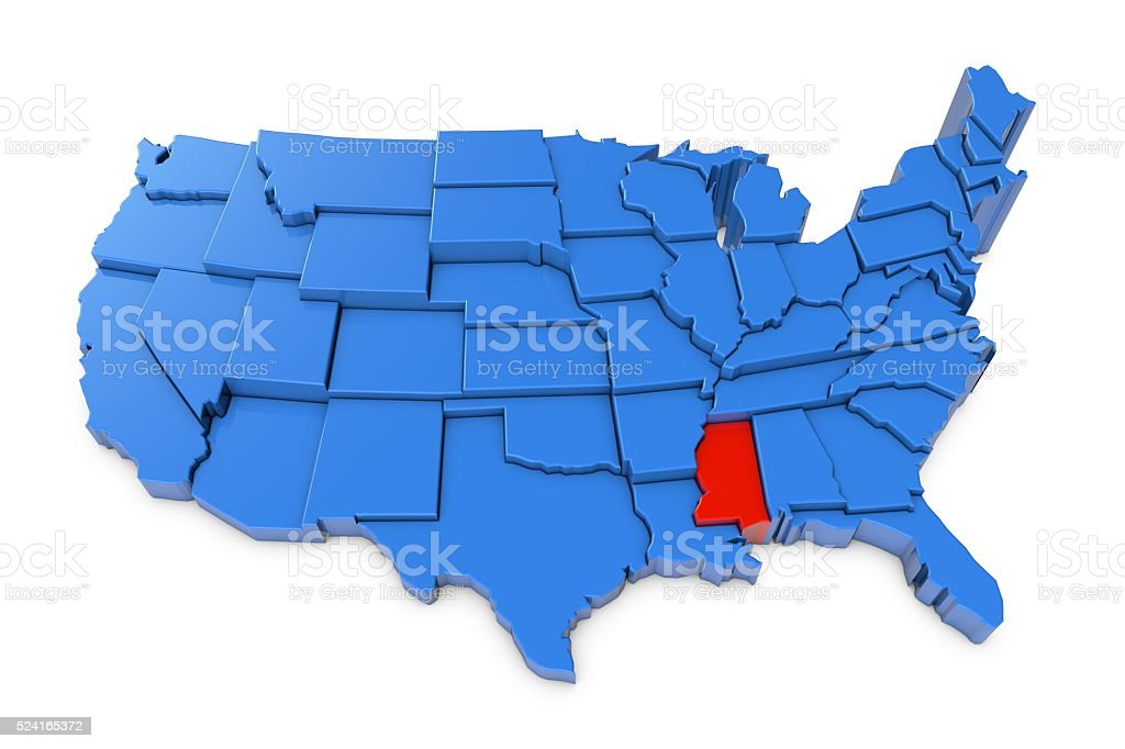 Usa Map With Mississippi State Highlighted In Red Stock Photo & More ...