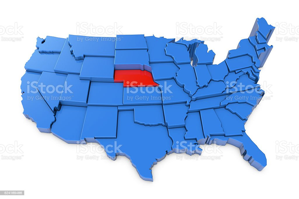 USA map with Nebraska state highlighted in red stock photo