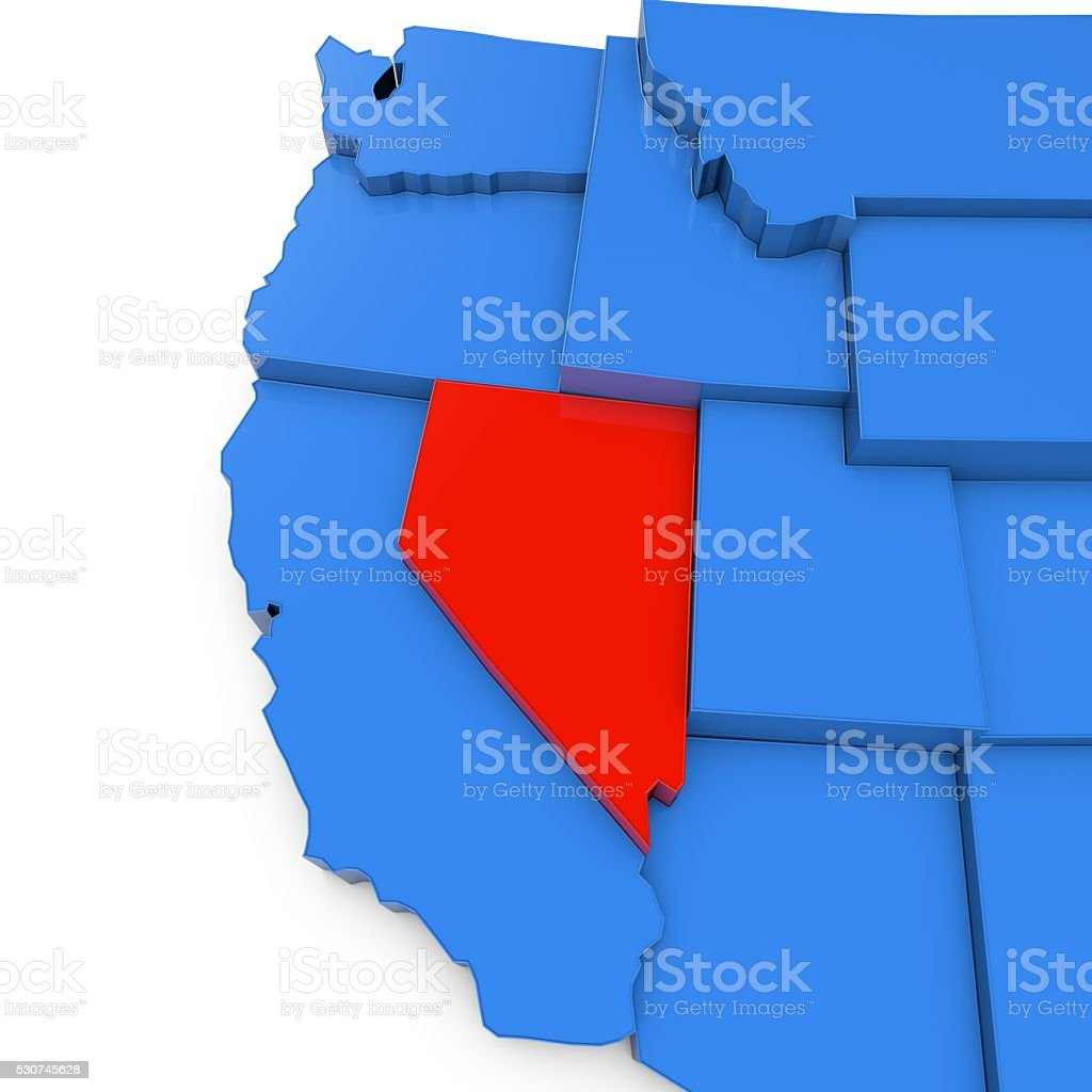 USA map with nevada state highlighted in red stock photo