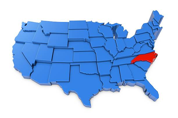 USA map with North Carolina state highlighted in red 3D render of USA map with states. The map is blue and on a plain white background. 3D render of USA map with states. The map is blue and on a plain white background.  north carolina us state stock pictures, royalty-free photos & images