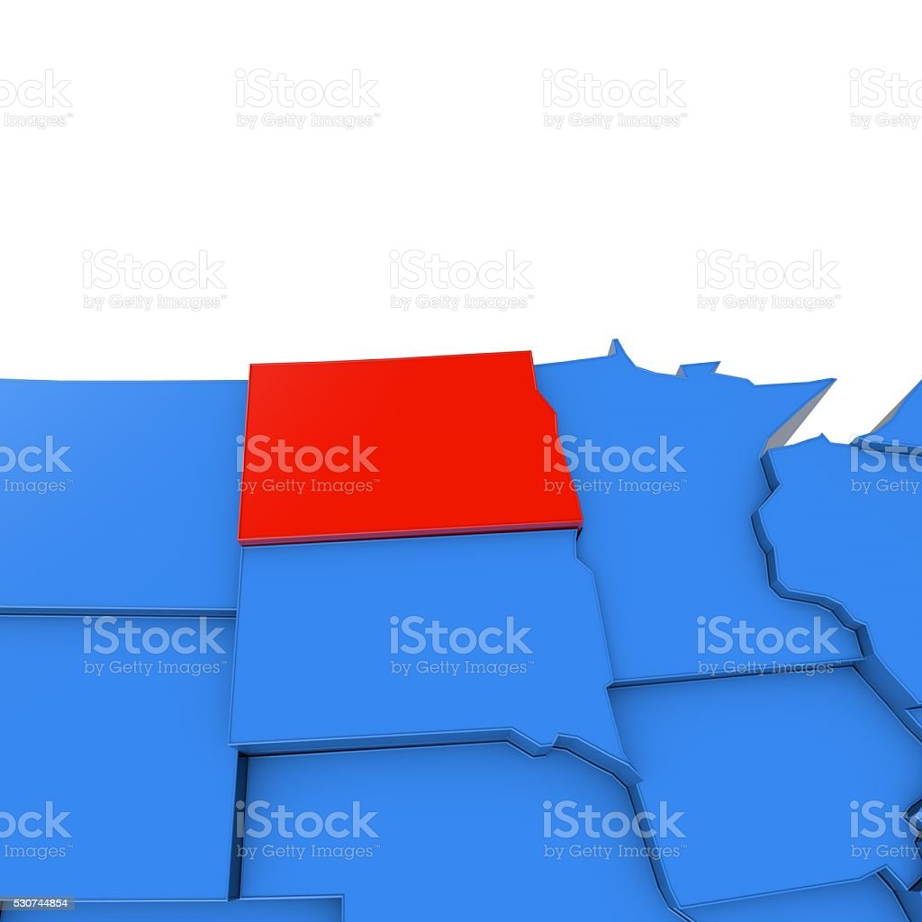 USA map with north dakota state highlighted in red stock photo