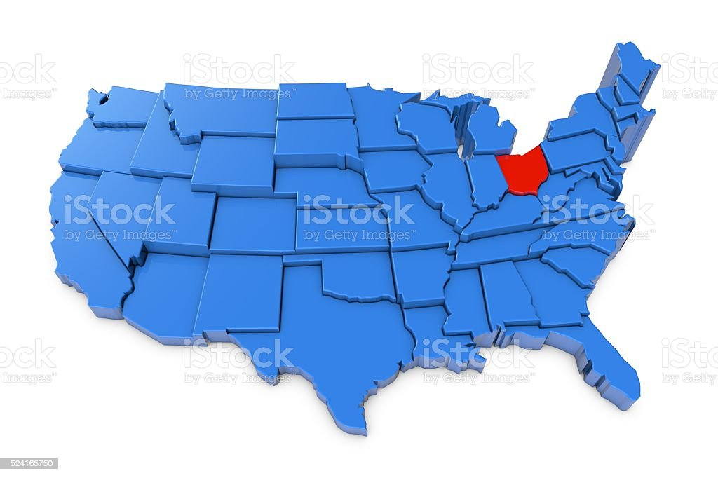 Usa Map With Ohio State Highlighted In Red Stock Photo IStock - Us map ohio state