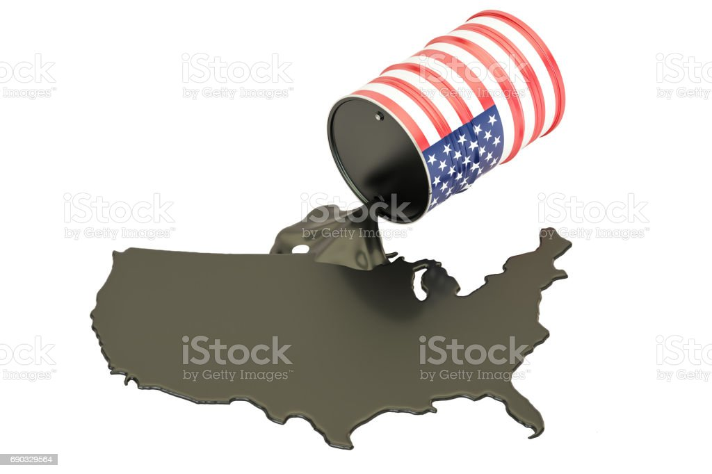 USA map with oil and barrel. Oil production concept. 3D rendering stock photo