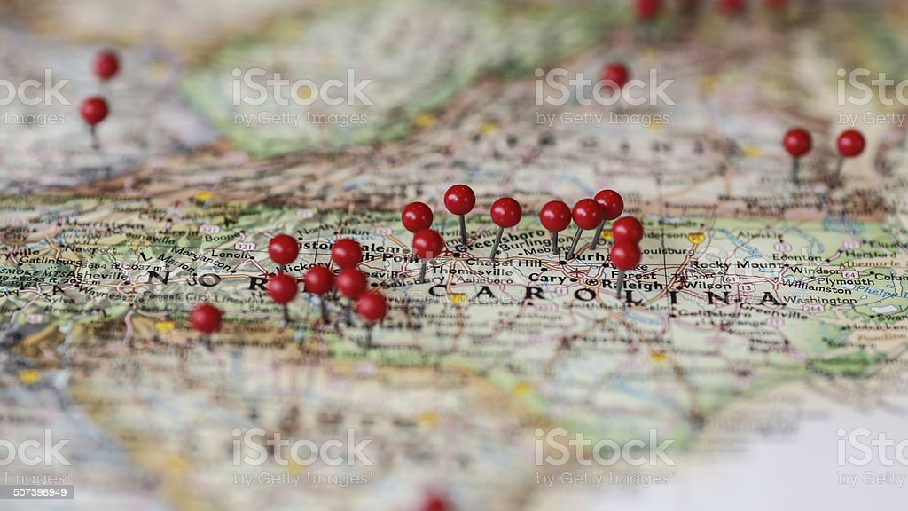 usa map with pin locations featuring the carolinas stock photo