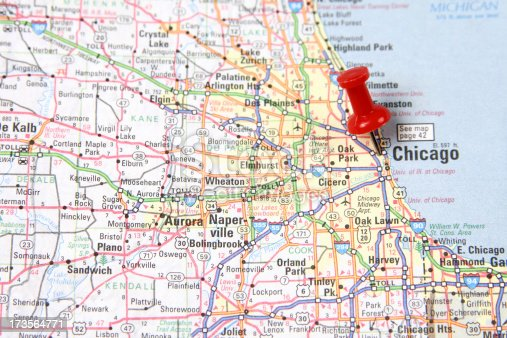 istock Map with Pin on Chicago 173564771