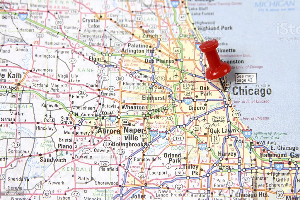 Map with Pin on Chicago stock photo