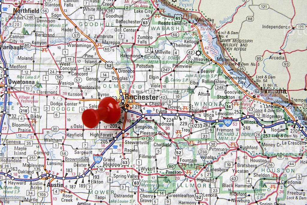 Map With Pin On Rochester Minnesota Stock Photo More Pictures Of