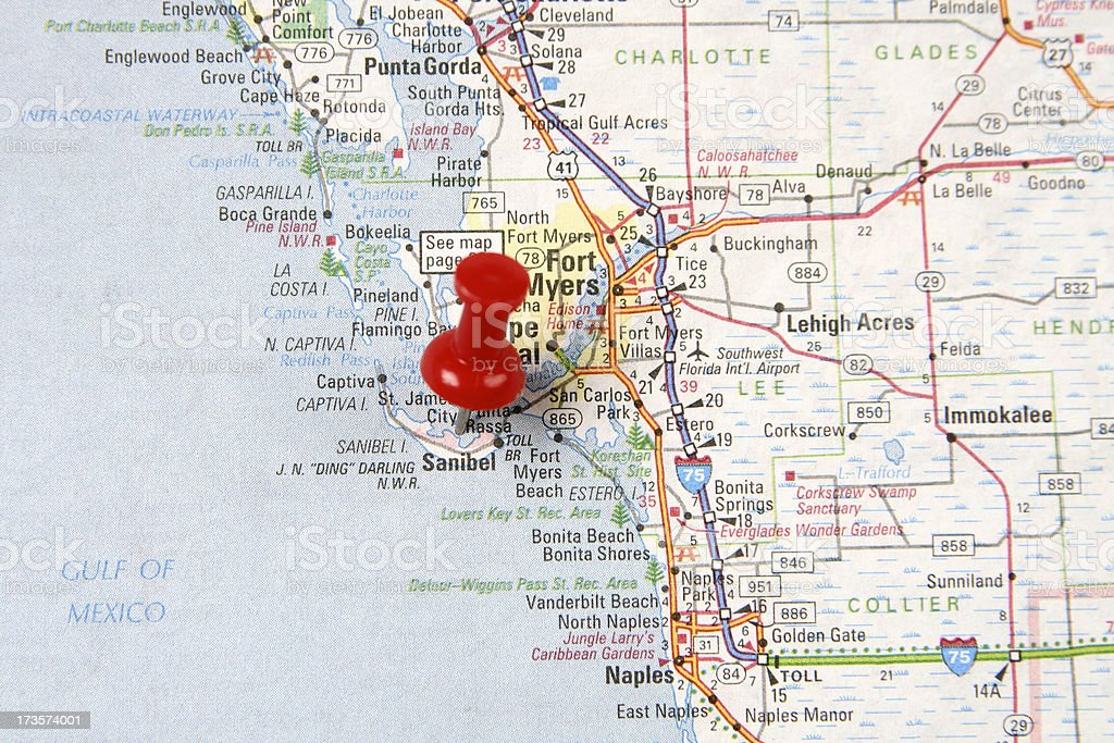 Map with Pin on Sanibel Island stock photo