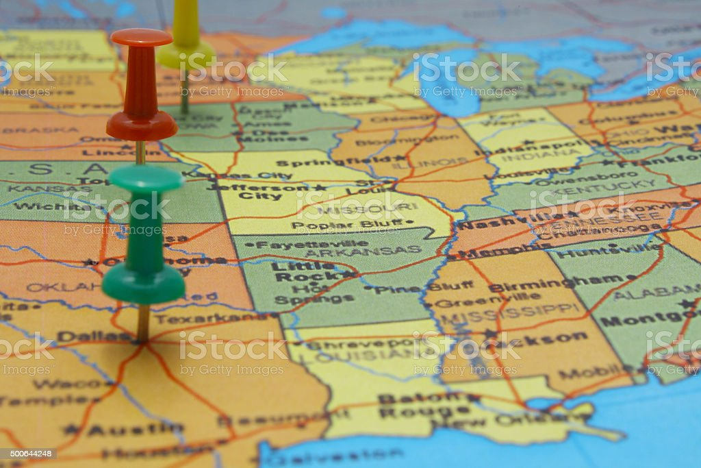 USA map with pushpins stock photo
