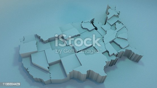 istock 3D USA Map with states in different plane elevations 1135554429