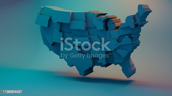 istock 3D USA Map with states in different plane elevations 1135554437