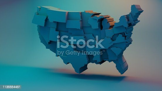 istock 3D USA Map with states in different plane elevations 1135554451
