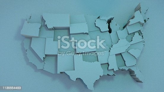 istock 3D USA Map with states in different plane elevations 1135554453