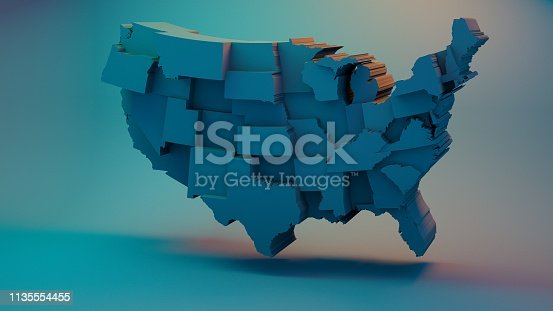 istock 3D USA Map with states in different plane elevations 1135554455