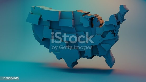 istock 3D USA Map with states in different plane elevations 1135554460