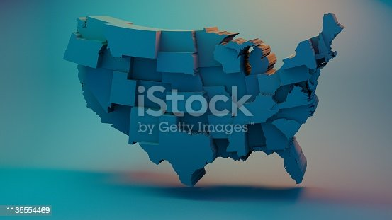 istock 3D USA Map with states in different plane elevations 1135554469