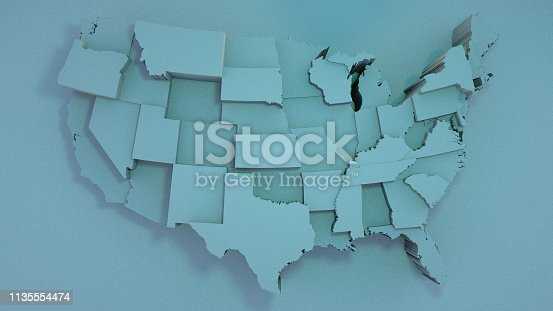 istock 3D USA Map with states in different plane elevations 1135554474