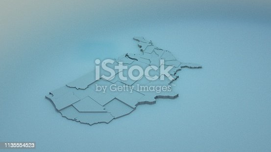 istock 3D USA Map with states in different plane elevations 1135554523