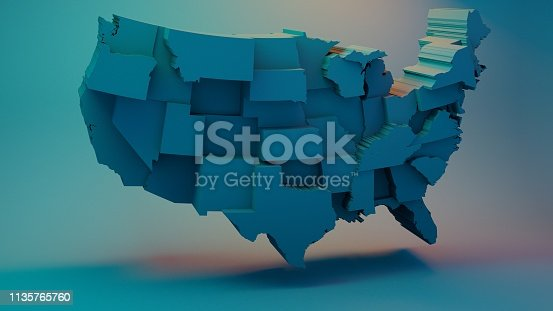 istock 3D USA Map with states in different plane elevations 1135765760