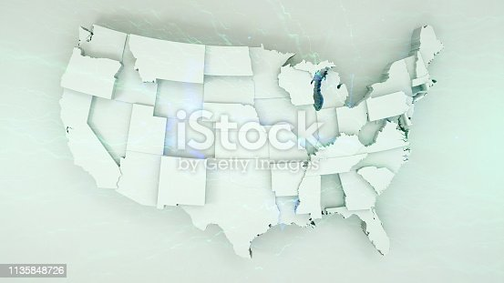 istock 3D USA Map with states in different plane elevations 1135848726