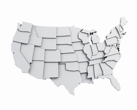 istock 3D USA Map with states in different plane elevations 625663536